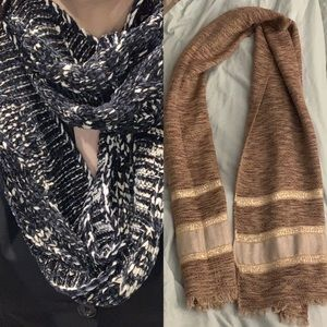 2 Womens scarves- infinity and chevron pattern